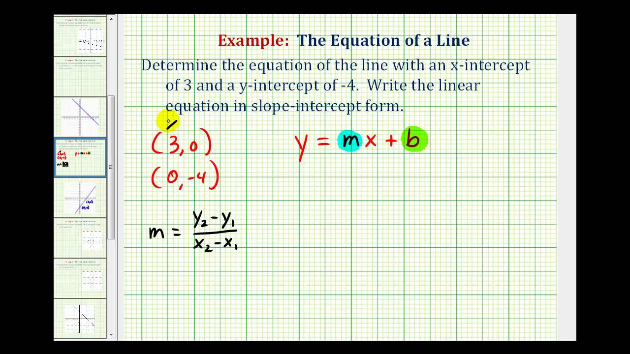 slope intercept form x and y intercepts  Ex: Find the Equation of a Line in Slope Intercept Form Given the X and Y  Intercepts