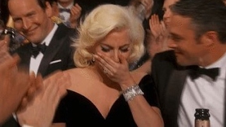 Lady Gaga cries at Golden Globes 2016