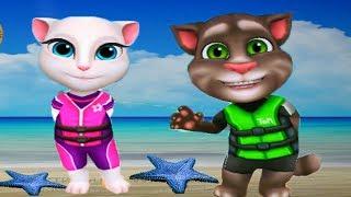 АКВАБАЙК ГОВОРЯЩЕГО ТОМА АКВАПАРК #1 Анджела Хэнк  и Джинджер мультик игра видео для детей #Ушастик