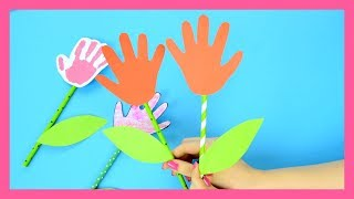 Handprint Flower Craft for Kids - simple Spring craft for kids