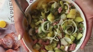 Салат на скорую руку с солеными огурцами и копченой колбасой :-) #Салат #Всепростоивкусно