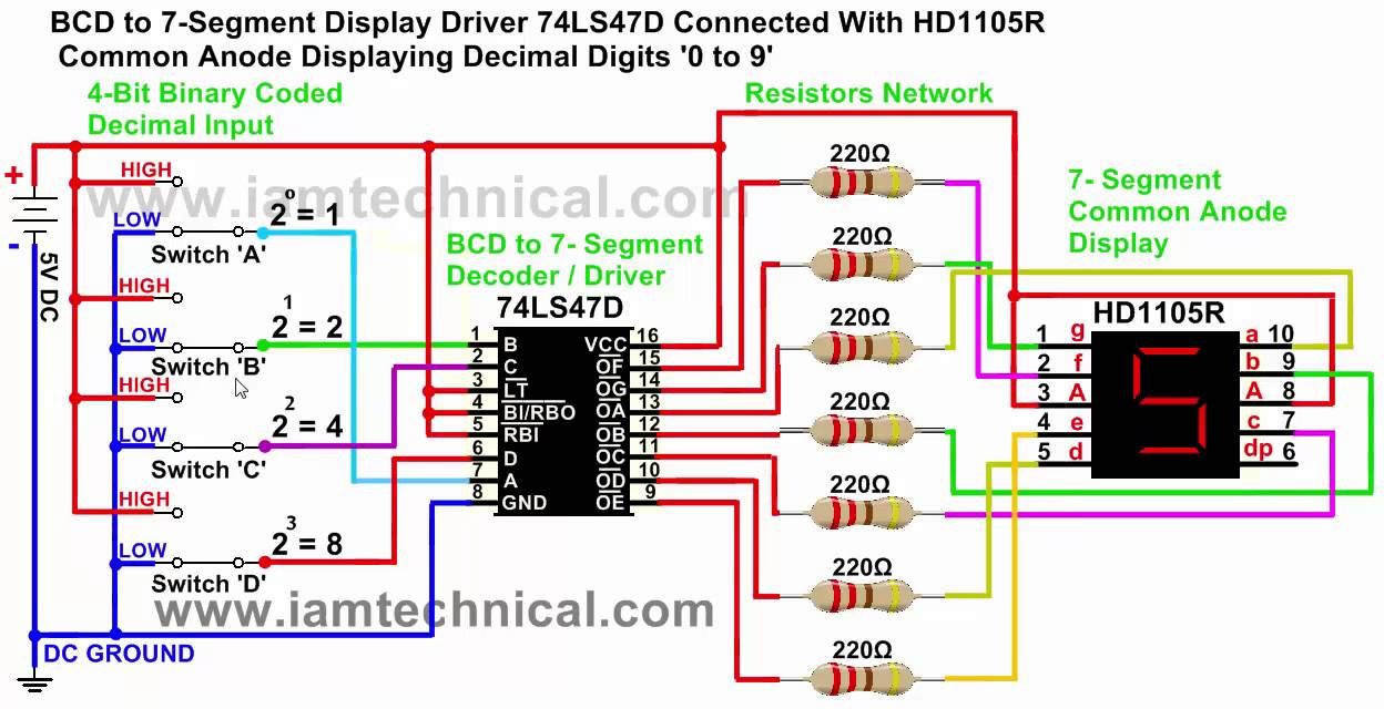 Common Anode Seven Segment Display Wiring Illustration Of 7 Counter Circuit Diagram Bcd To Driver 74ls47d Displaying Rh Youtube Com