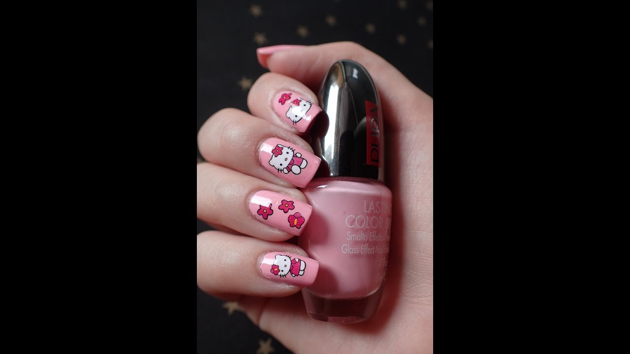 Nail Art | Hello Kitty water stickers - YouTube