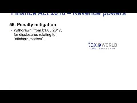 Finance Act 2016 - Penalty Mitigation