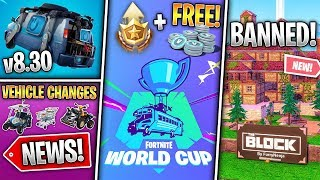 Free World Cup Rewards, Block Banned, Vehicle Overhaul, 8.30 Info & Reboot Vans! (Fortnite News)