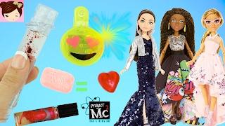 Project Mc2 Dolls & Experiments - DIY Lava lip gloss - Soap Gummies Emoji LED Earrings - Titi Toys