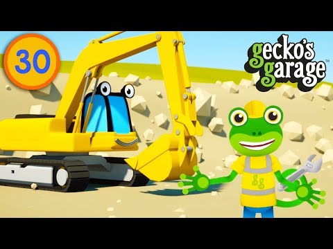 Excavators For Children   Gecko's Garage   Construction Trucks For Kids   Educational Videos