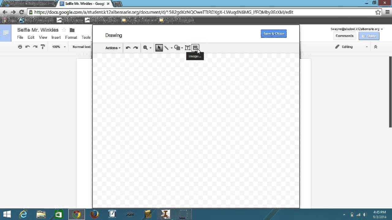 how to put text on image google docs