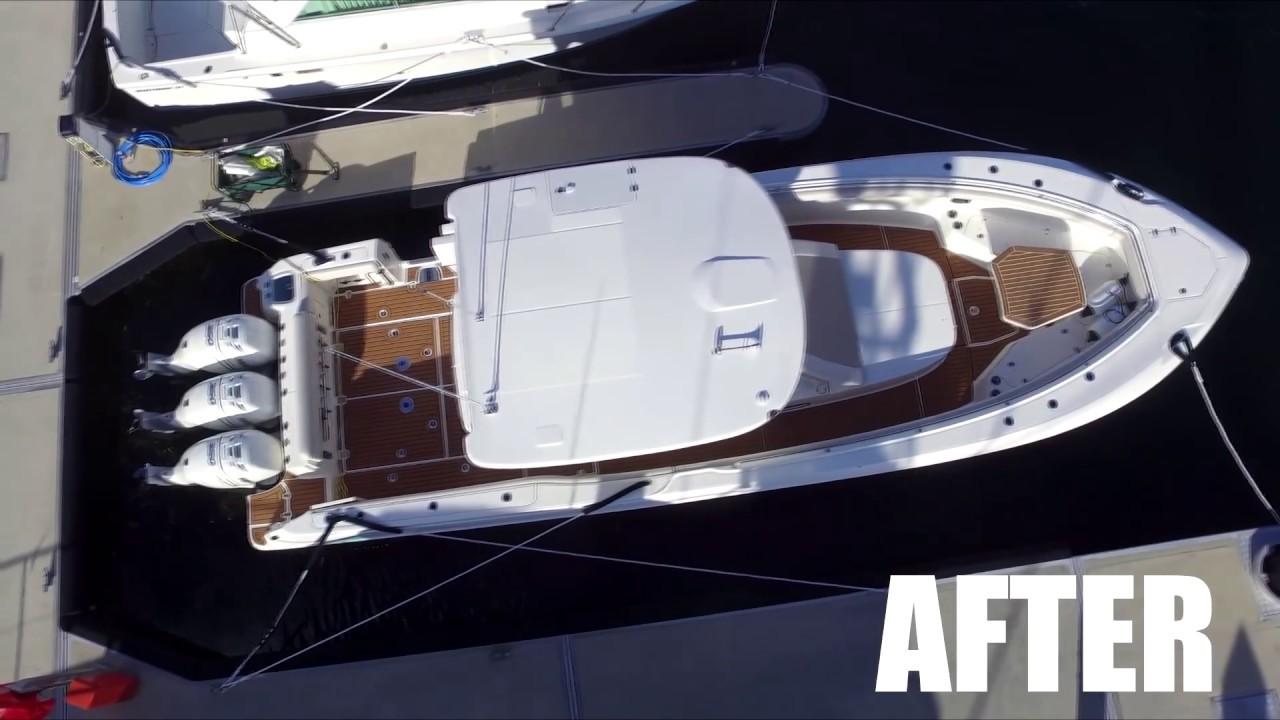 Boston Whaler 370 Custom CNC Cut EVA Foam Deck Installation