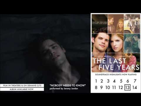 Jeremy Jordan - Nobody Needs to Know (Audio Video) - The Last Five Years