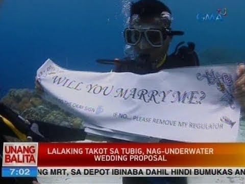 UB: Lalaking takot sa tubig, nag-underwater wedding proposal