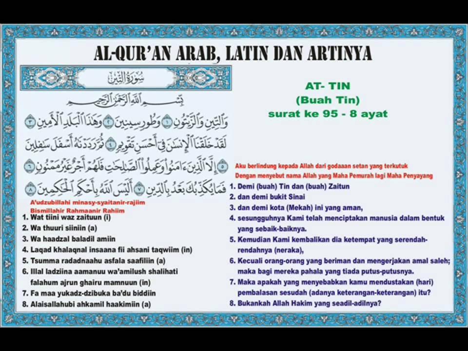 Juz Amma 095 At Tin Buah Tin Bacaan Arab Latin Dan Artinya
