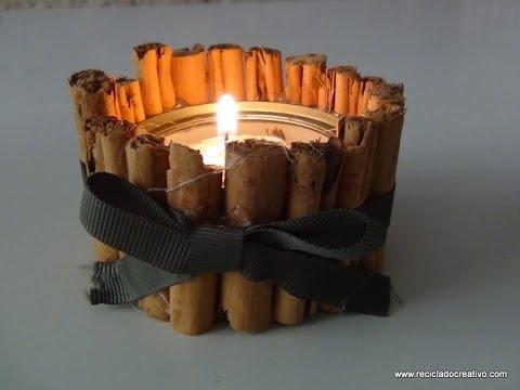 Portavelas navideño con una lata de atún y canela - Candle holder ...