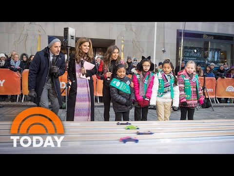 NASCAR's Danica Patrick Helps Girl Scouts Race Cars on The Plaza | TODAY