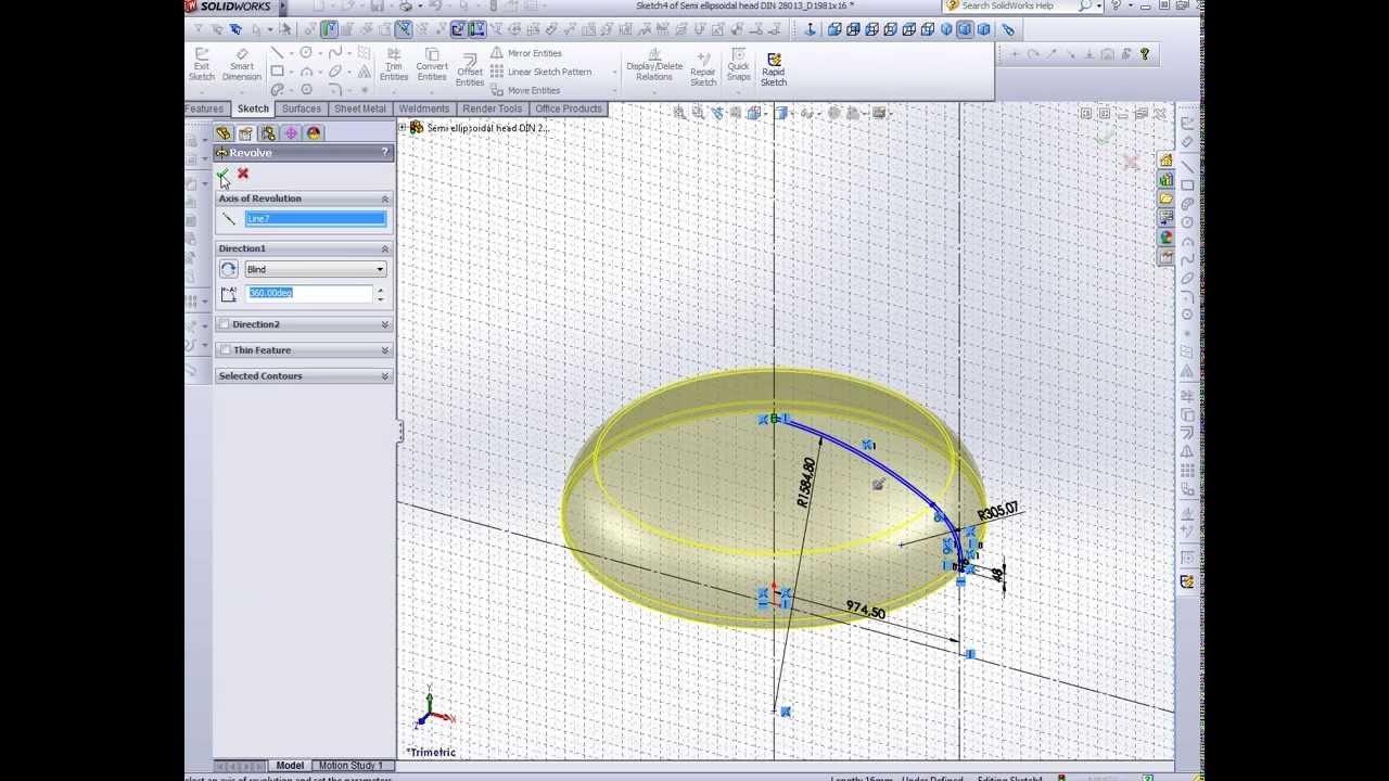 Semi Ellipsoidal Head Din 28013 Solidworks Youtube