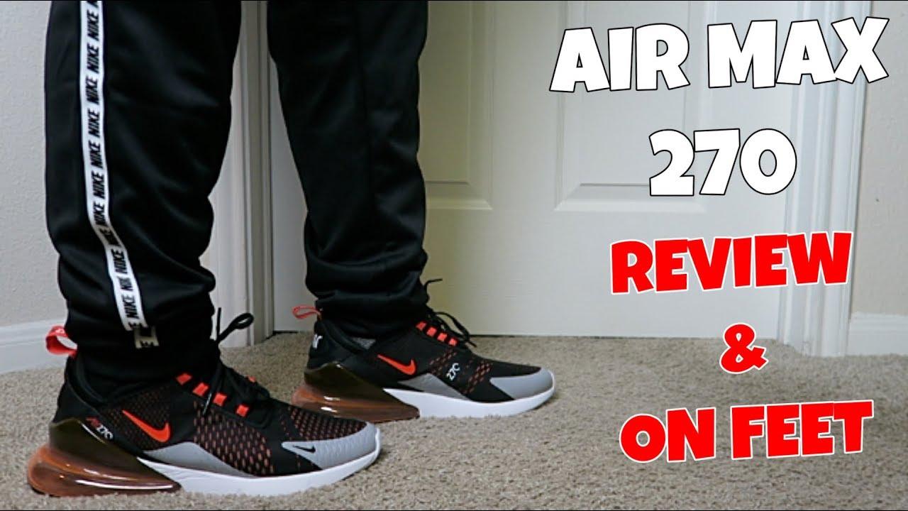 822ea22a AIR MAX 270 BLACK BRIGHT CRIMSON REVIEW & ON FEET! - YouTube