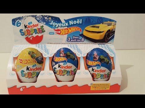 Unboxing 6 Hot Wheels Kinder Surprise eggs