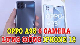 """Mở hộp OPPO A93 mặt lưng giống """"iPhone 12"""" và có 6 camera"""