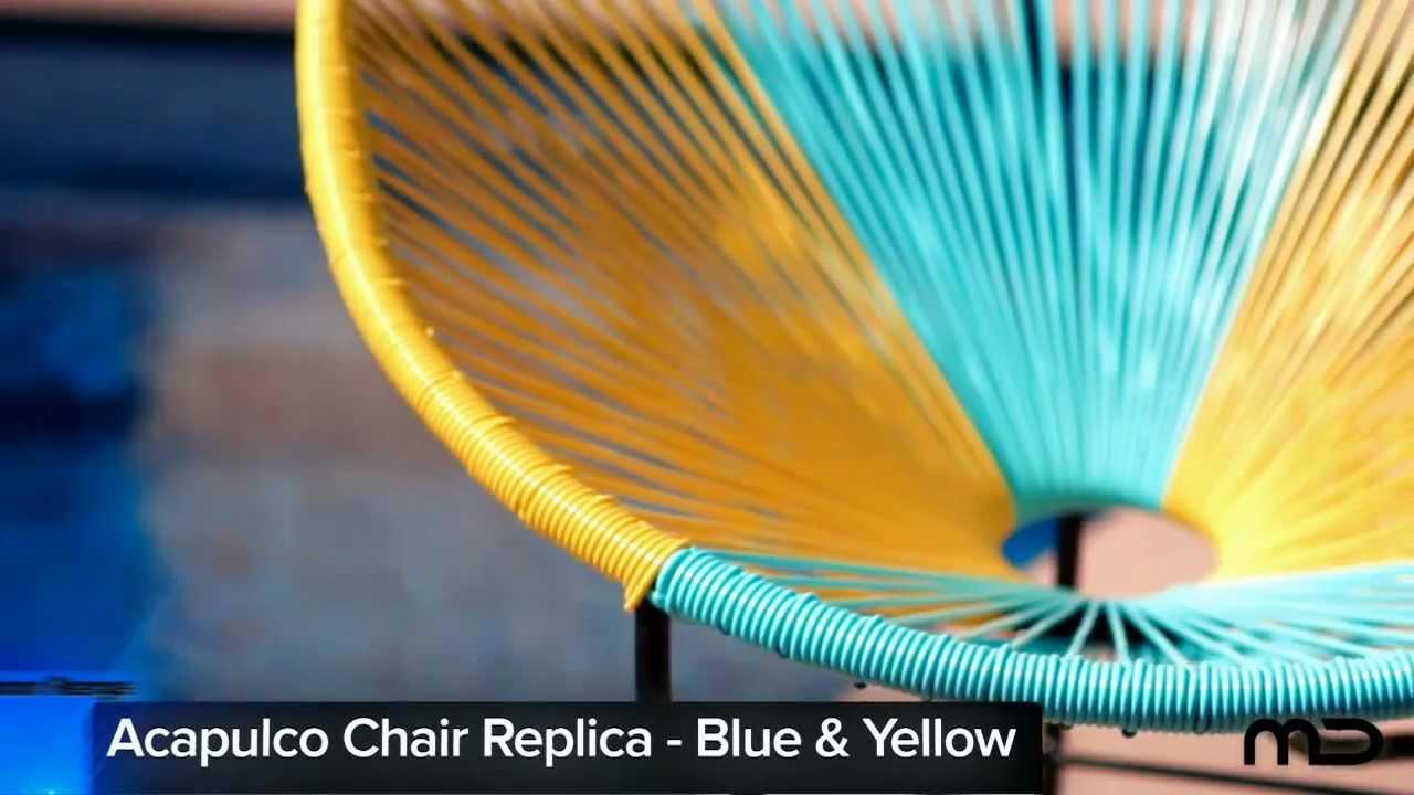 Acapulco chair outdoor - Acapulco Chair Replica Outdoor Wicker Blue Yellow Milan Direct