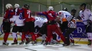 "Latvian EHL/NHL/KHL hockey league playoff fight ""DAX logistics - SANTECO"""