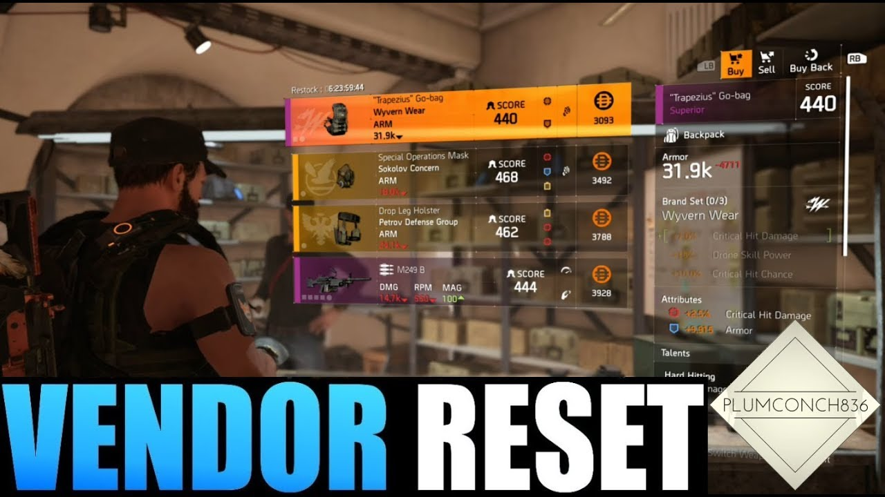 The Division 2 - Weekly Vendor Reset - Plums Picks - MUST BUYS - GEAR and  WEAPONS - WITH TIME STAMPS