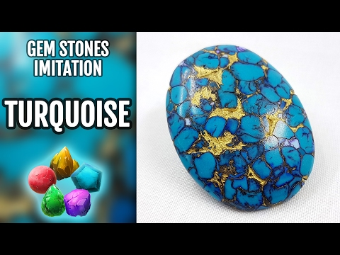 DIY How to make Realistic Natural Turquoise Stone. Stone imitation technique. VIDEO Tutorial!