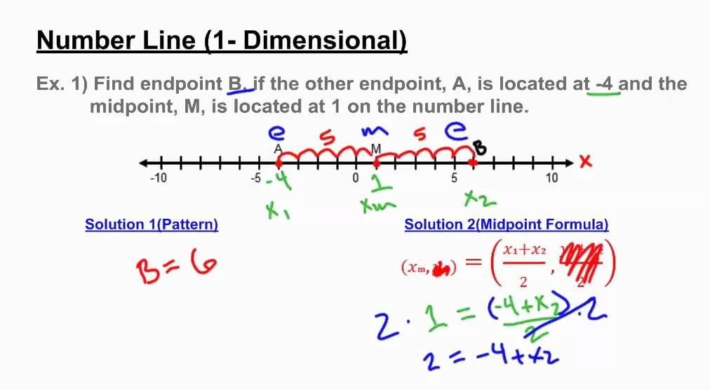 midpoint finding unknown endpoint on a number line youtube