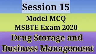 DSBM/ MCQ/ MSBTE Exam 2020/ Drug storage and buisiness management/ D .Pharm