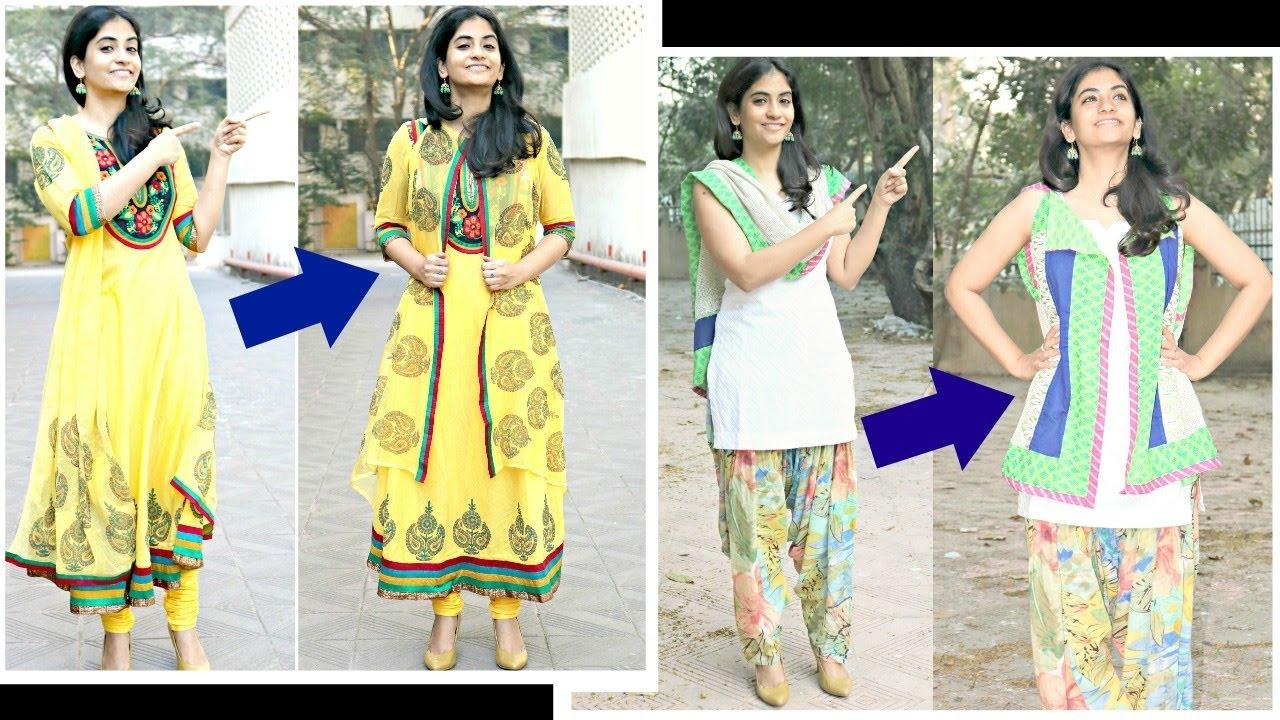 7c9348df841fb Make jackets for anarkalis and salwar kameez from dupattas- No sewing  method - YouTube