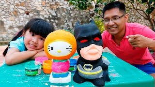 be bun to tuong hello kitty trai cam to tuong nguoi doi -  coloring hello kitty orange vs batman
