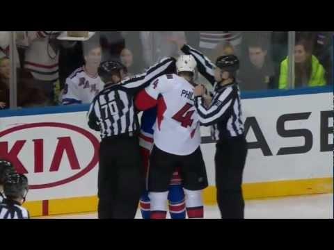 Chris Phillips vs Michael Haley Fights  Ottawa Senators vs New York Rangers Mars 8, 2013 NHL HD