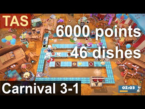 [TAS] Overcooked 2 Carnival of Chaos 3-1 6000 Points |
