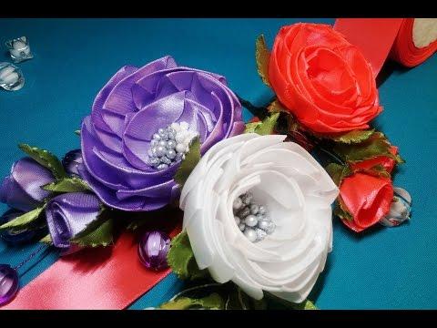 цветы из атласных ленточек своими руками