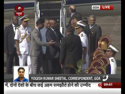 South African President Jacob Zuma arrives at Goa Airport