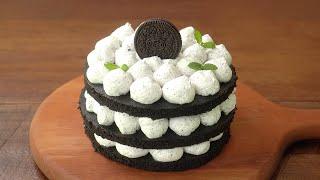 [노오븐] 4가지 재료로 3단 초콜릿 케이크 만들기 :…