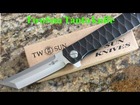 TwoSun brand Tanto knife model TS20 from China titanium flipper D2 blade nice