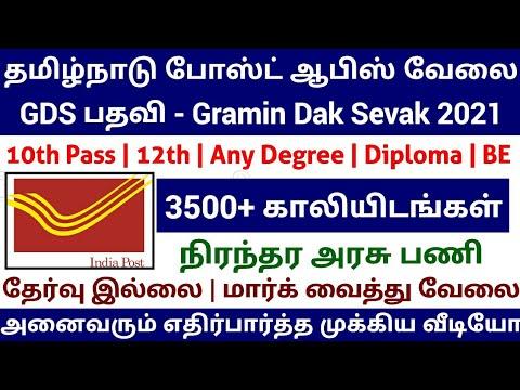 Tamilnadu Post Office Gds Jobs 2021 10th Pass No Exam Post Office Jobs 2021 Mark Booster