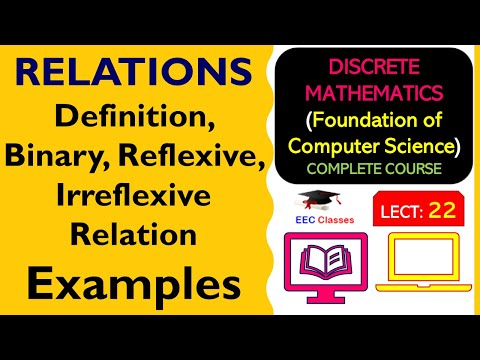 RELATIONS #1- Definition, Binary Relation, Reflexive, Irreflexive Relation with Solved Examples