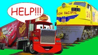 Big Red Transport Truck in Trouble w/ Train! Red Car in Danger Underwater! Wrong Cars for Kids