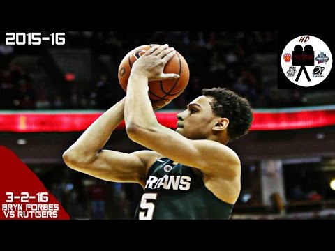 Bryn Forbes Full Highlights vs Rutgers (3-2-16) 33 Pts 11-16 3PM, UNLIMITED SHOOTING