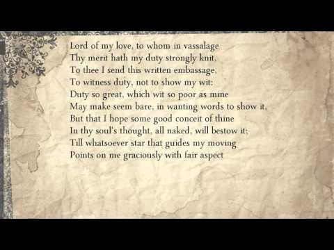 Sonnet 26: Lord Of My Love, To Whom In Vassalage