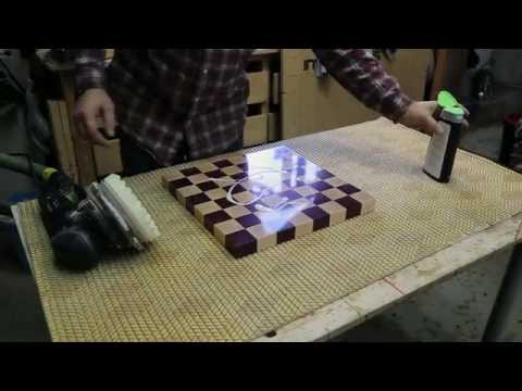 Polishing an end grain chessboard