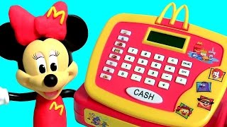Minnie Works at McDonalds Cash Register ❤ Peppa Pig Happy Meal Toys Surprise ❤ BBQ Burgers Play-Doh