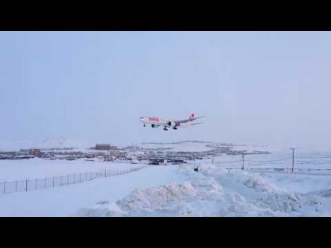 LAX bound flight landing in Iqaluit North Pole