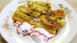 Жареные бананы в карамели с мороженым