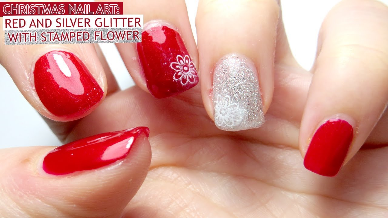 Christmas Nail Art Red and Silver Glitter with Stamped Flower