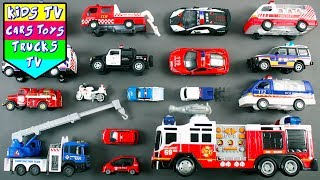 Police And Fire Vehicles For Kids Children | Police Car Ladder Truck Ambulance Crane Fire Engine