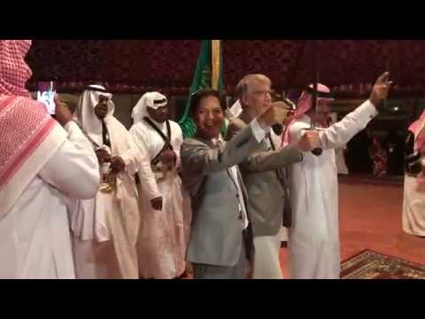 Doing the warrior dance with our Damascus swords in Saudi Arabia