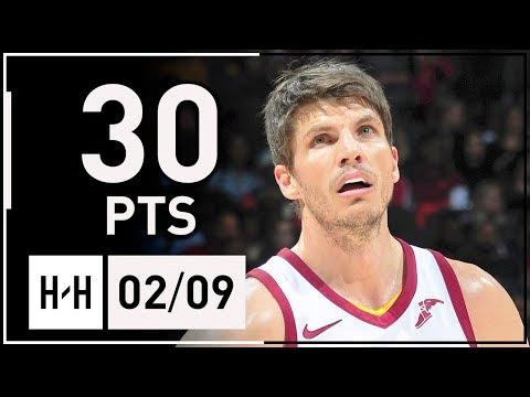 Kyle Korver Full Highlights Cavaliers vs Hawks (2018.02.09) - 30 Points, 7 Threes!