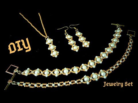 How to make jewelry at home.  Bride jewelry. DIY elegant jewelry set.